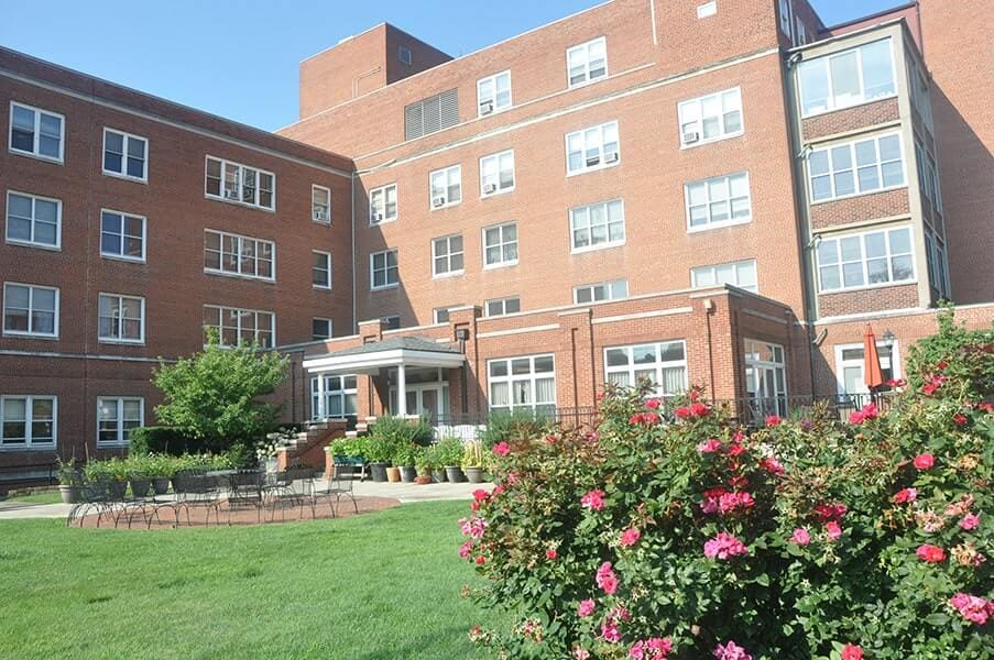 Margaret Wagner Apartment front entrance, patio and garden
